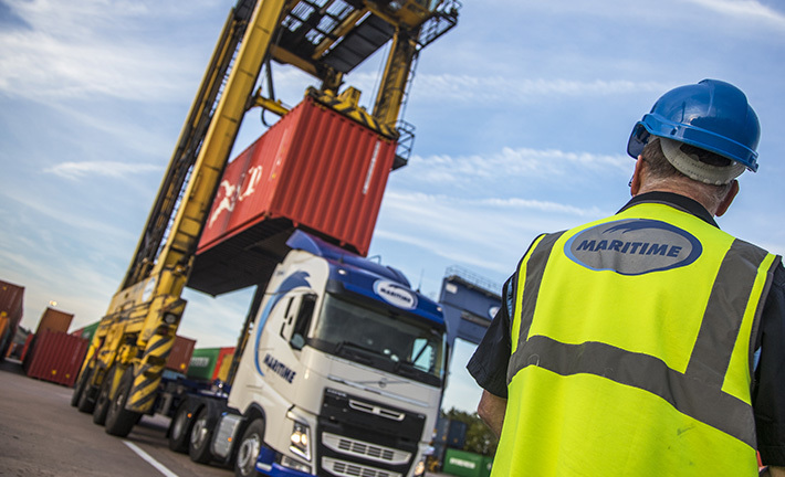 Container being lowered onto lorry