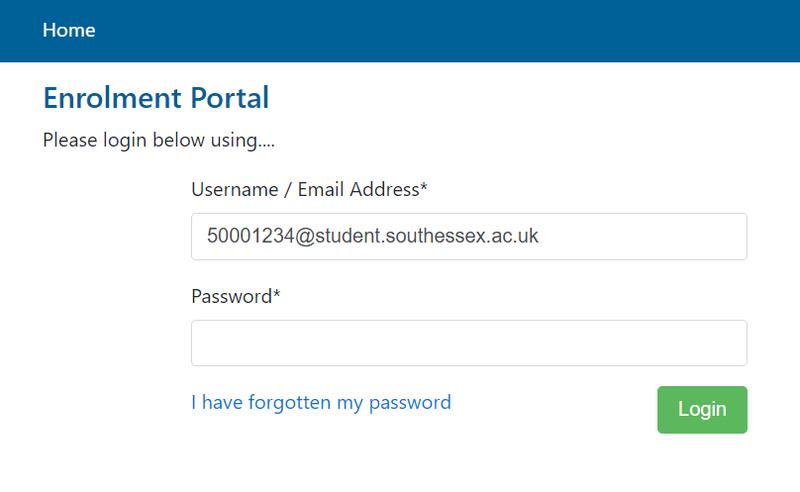 Enrolment portal login screen