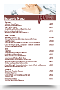Waves Brasserie Menu